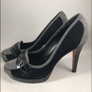 White House Black Market suede BuckleTop heels.